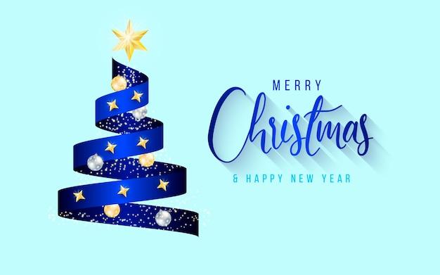 青いクリスマスツリーリボンとエレガントな背景 無料ベクター