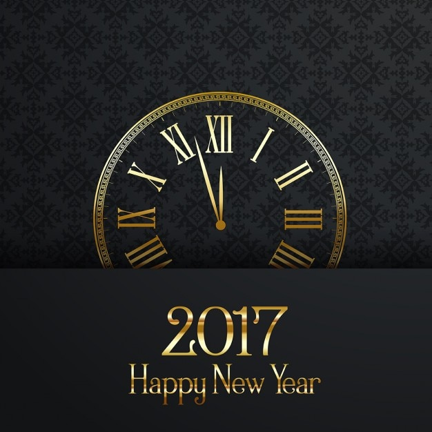 Elegant background with a clock for new year Free Vector
