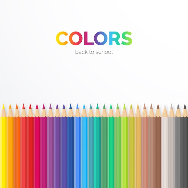 Elegant background with colorful pencils Free Vector