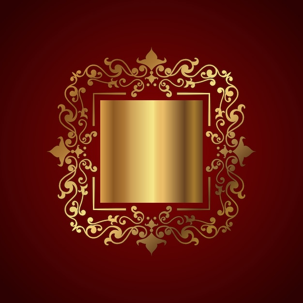 Elegant background with decorative gold frame Free Vector