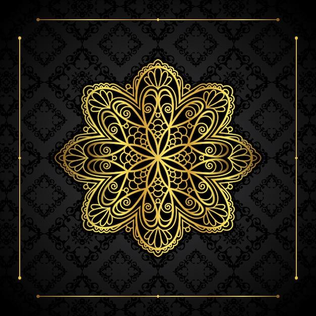 Elegant background with gold border and mandala design Premium Vector