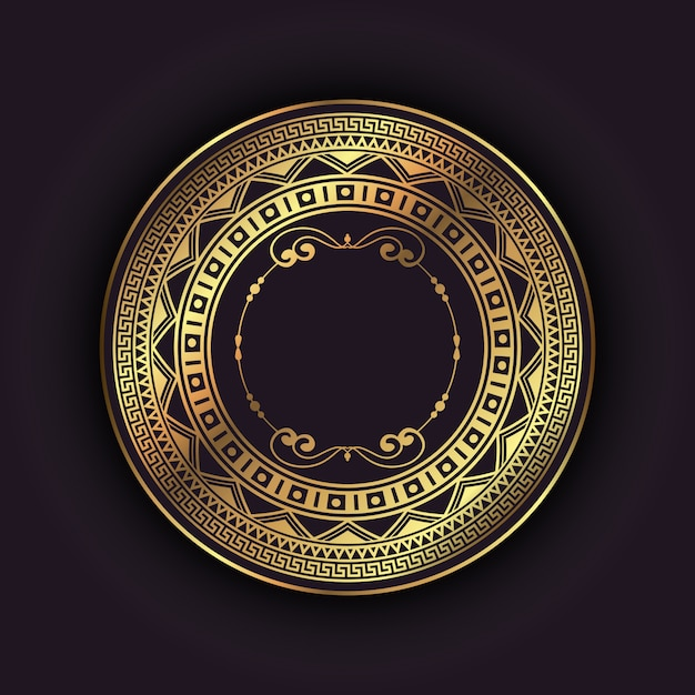 Elegant background with gold circular frame Free Vector