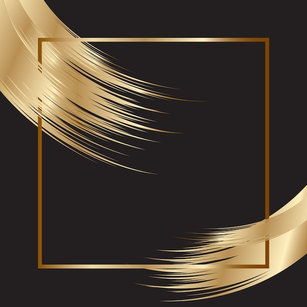 Elegant background with gold frame and brush strokes Free Vector