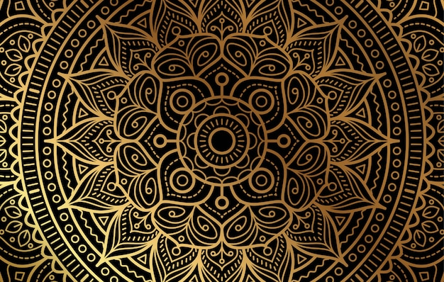Elegant background with gold luxury floral pattern Premium Vector