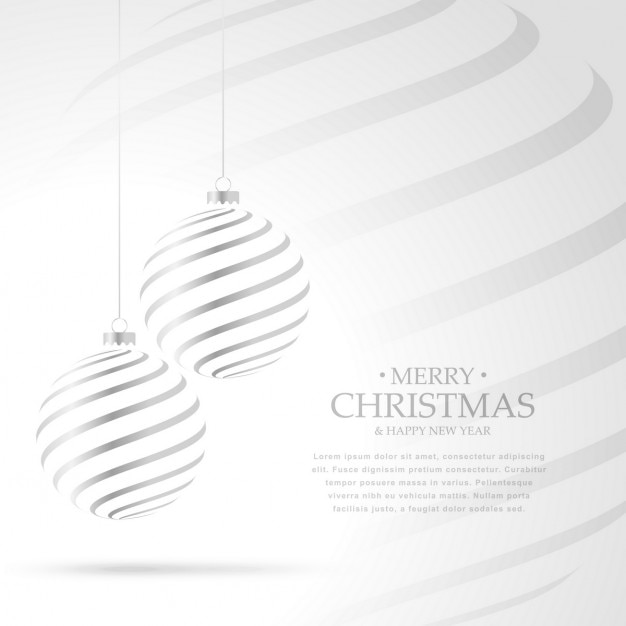Elegant background with silver christmas ball Free Vector