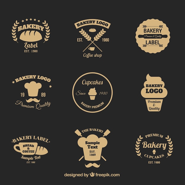 elegant bakery logo collection in flat style vector free