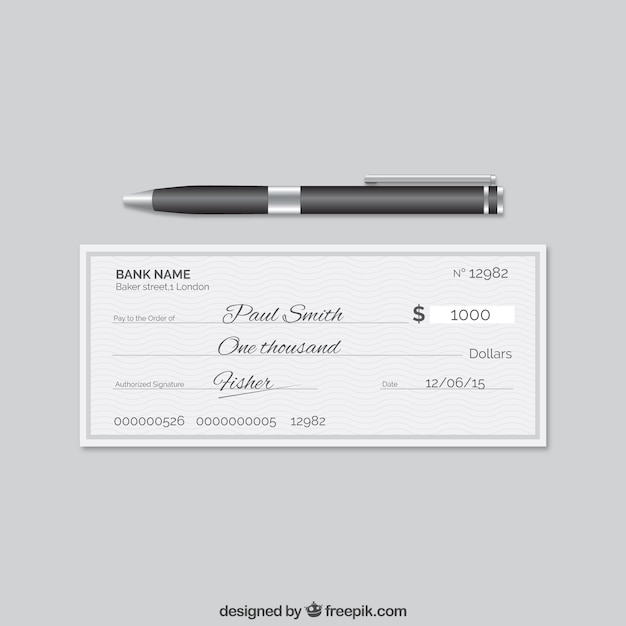 Elegant bank cheque Free Vector