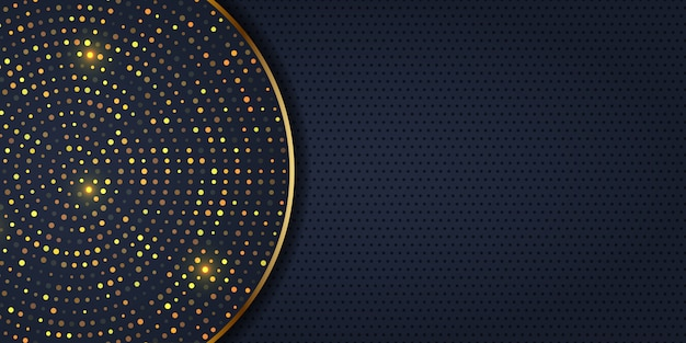 Elegant banner design with golden dots Free Vector