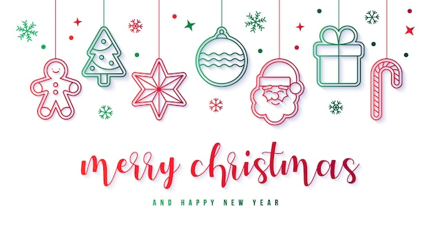 Elegant banner with christmas decoration Free Vector