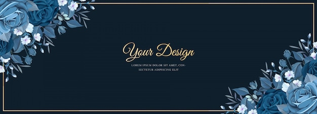 Elegant banner with classic blue floral template Free Vector