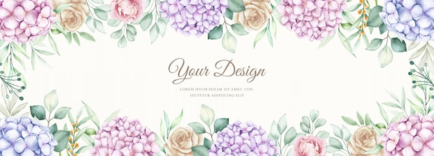 Elegant banner with watercolor hydrangea flowers Free Vector