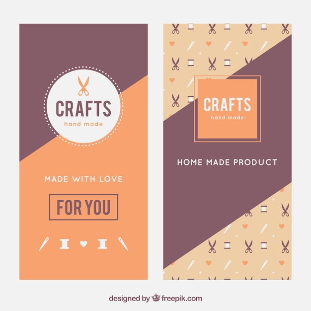 Elegant banners about crafts Free Vector