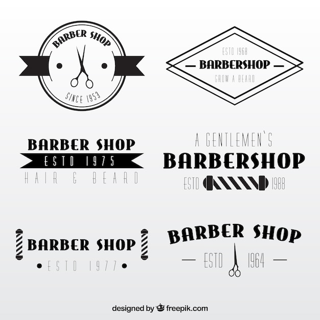 Elegant barber shop logos in vintage style