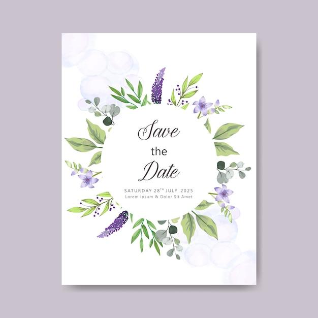 Elegant and beautiful floral wedding card template Premium Vector