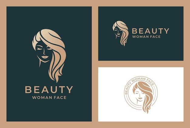 Elegant beauty woman logo Premium Vector