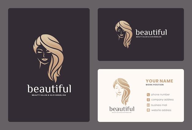 Elegant beauty women / hair styke logo design with business card template. Premium Vector