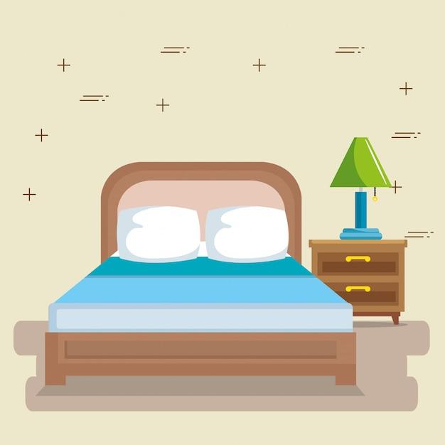 Elegant bedroom scene classic Free Vector
