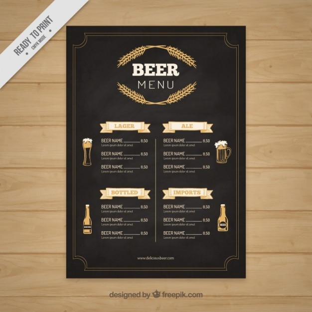 Elegant Beer Menu In Blackboard Style Vector  Free Download