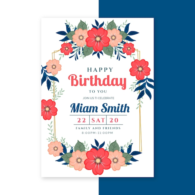 Elegant birthday card template with flowers Free Vector