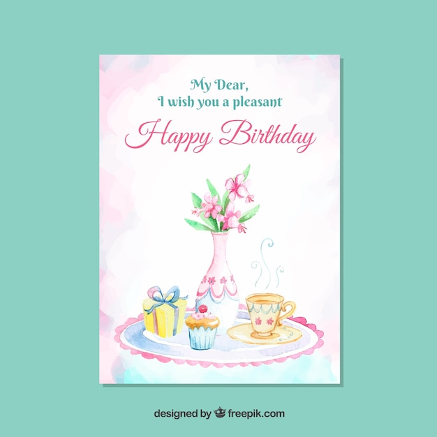 Elegant Birthday Card Template With Plant Vector Free Download
