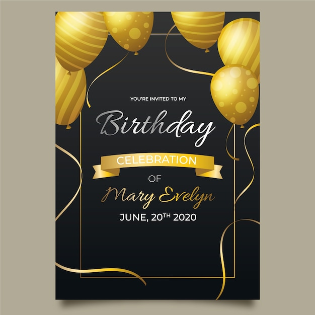 Elegant birthday card template with realistic balloons Premium Vector