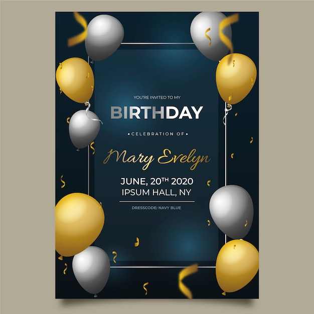 Elegant birthday card with realistic balloons Free Vector