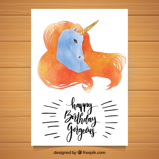 Elegant birthday card with watercolor unicorn