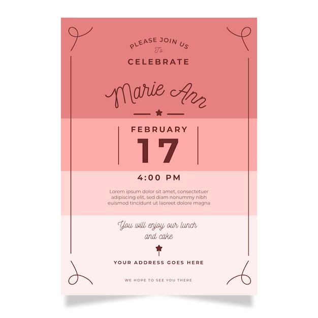 Modello di carta di invito compleanno elegante Vettore gratuito