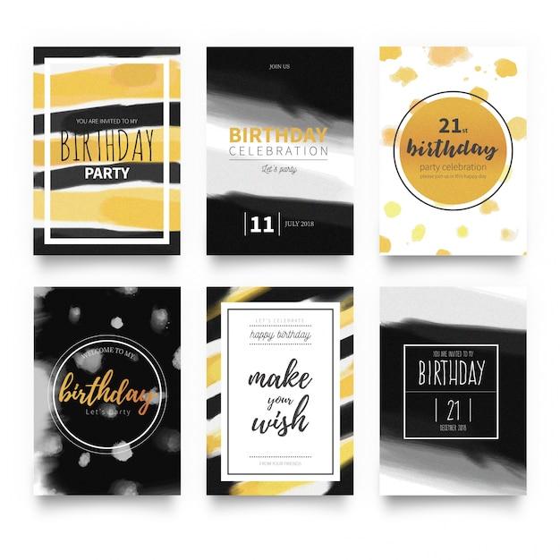 Elegant birthday invitation card templates Free Vector