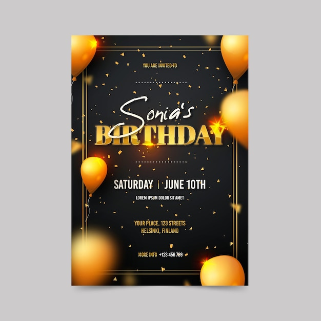 Elegant birthday invitation template Free Vector