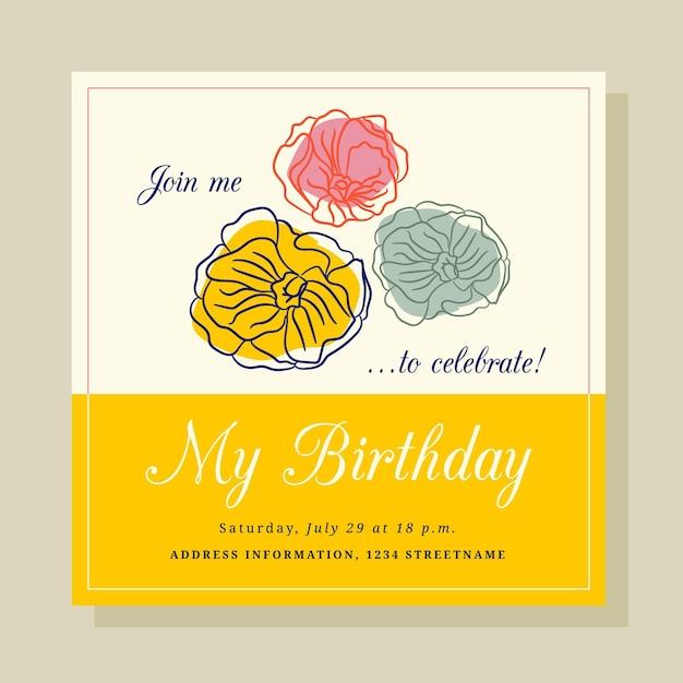 エレガントな誕生日の招待状のテンプレート 無料ベクター
