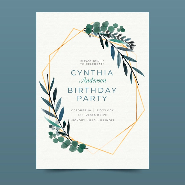 Free Vector Elegant Birthday Invitation Template