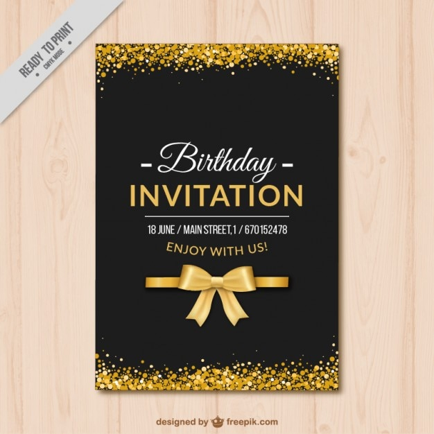Elegant Birthday Invitation With Golden Details Free Vector