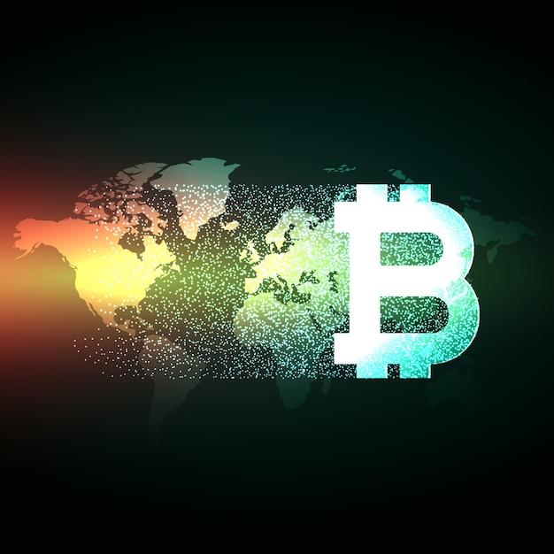 Elegant bitcoin design on world map Free Vector