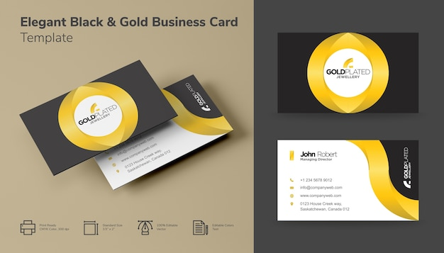 Elegant Black And Gold Business Card Vector Premium Download