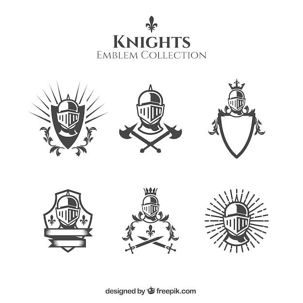 Elegant black and white knight emblems Free Vector