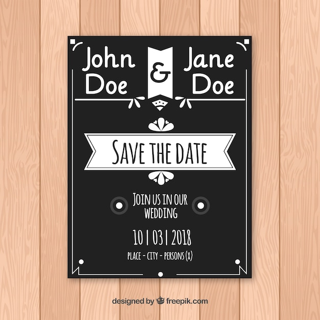 Elegant black and white wedding invitation vector free download elegant black and white wedding invitation free vector filmwisefo