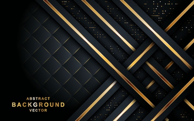Elegant black background with overlap layer. Premium Vector