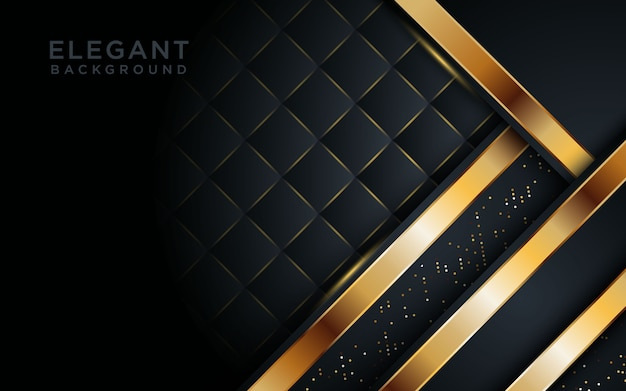 Elegant black background with overlap layer. Premium Vector