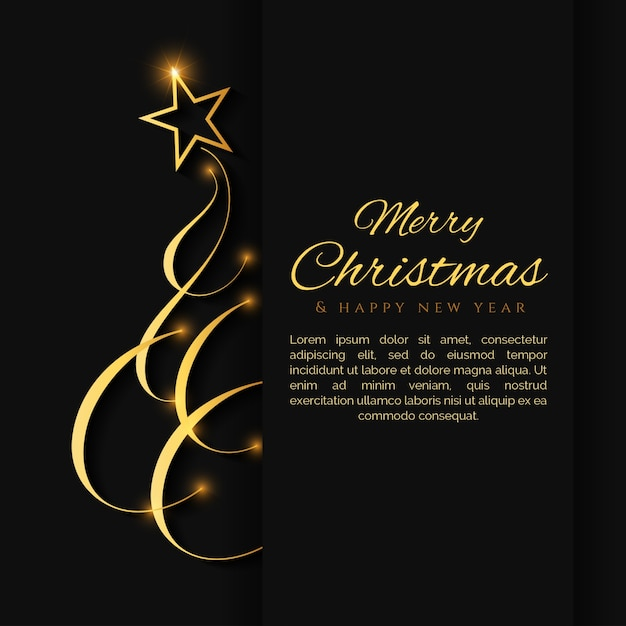 Elegant Black Christmas Background With A Gold Christmas Tree Vector