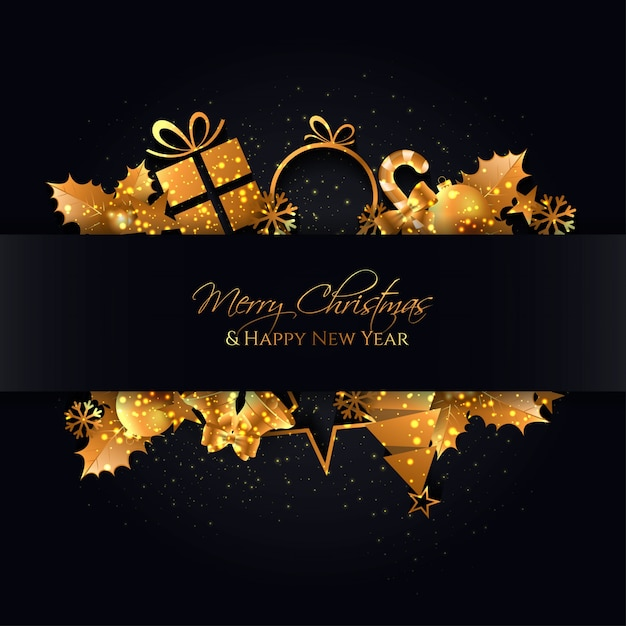 Elegant black christmas background with a gold elements Premium Vector