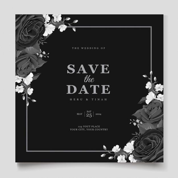 Elegant black floral wedding invitation card template Free Vector