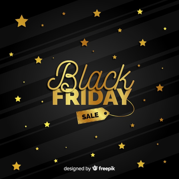 Elegant black friday composition with golden style Free Vector