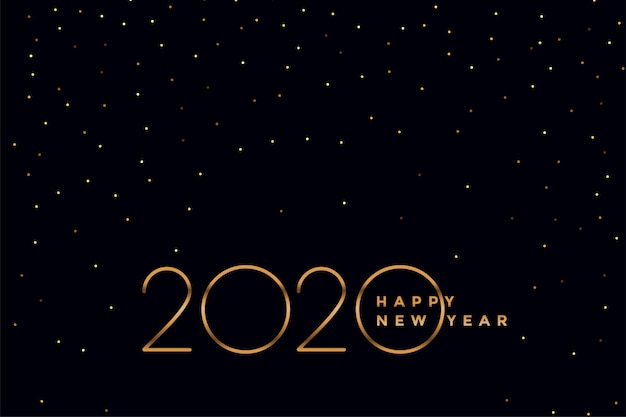 Elegant black and gold 2020 new year background Free Vector