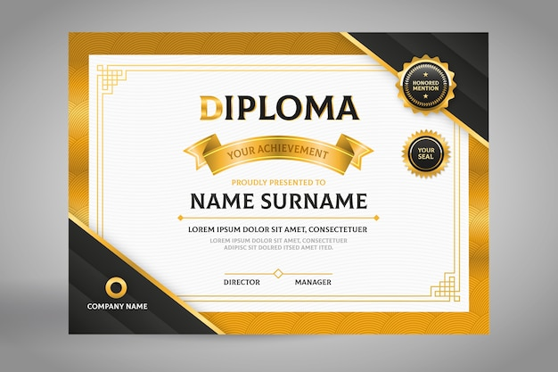 Elegant black and gold diploma certificate template Free Vector