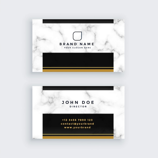 Elegant black and gold marble business card design Free Vector