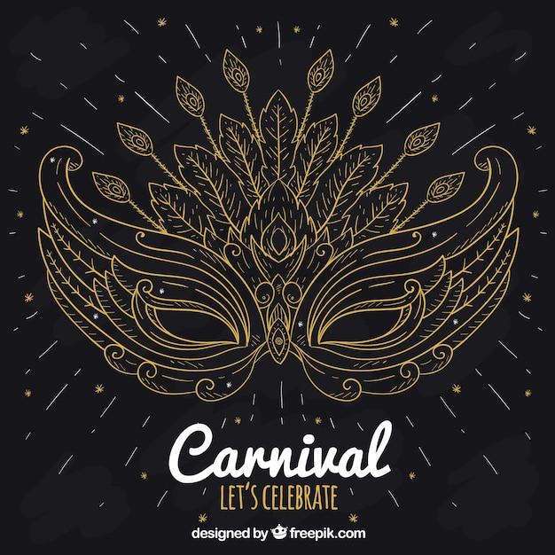 Elegant black and golden carnival background Free Vector