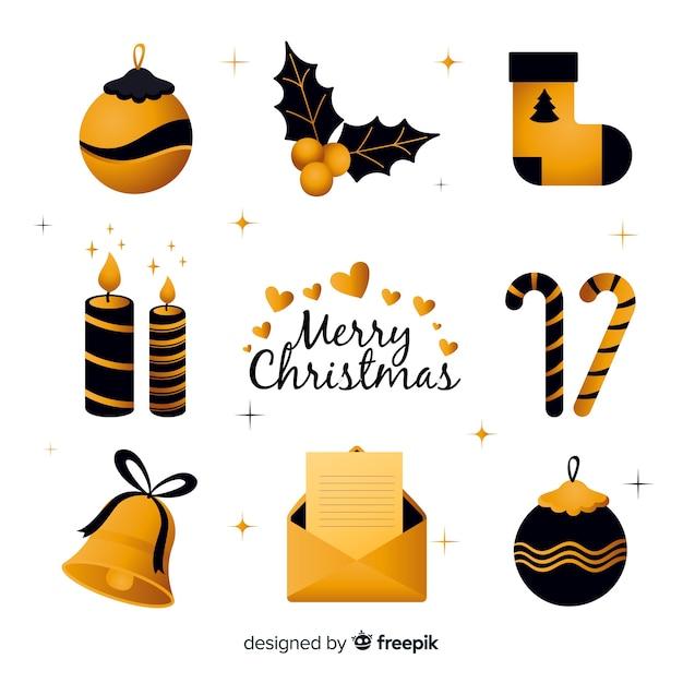 Elegant black and golden christmas elements Free Vector
