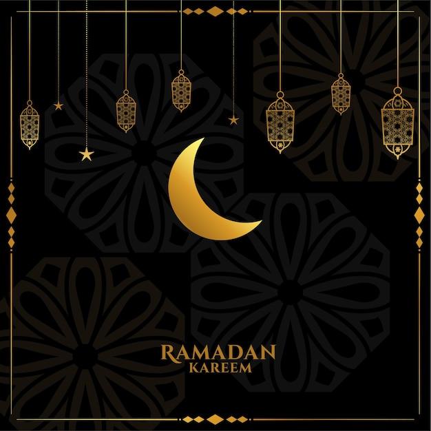 Elegant black and golden ramadan kareem eid greeting Free Vector