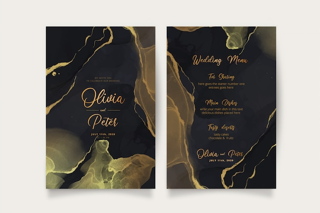 Elegant black and golden wedding invitation and menu template Free Vector
